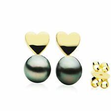 Pacific Pearls® 11mm Tahitian Black Pearl Earrings Gold Stud Office Wear Jewelry