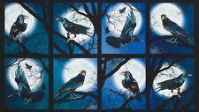 Spooky Raven Moon Fabric Panel Halloween Fabric