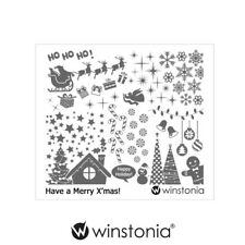 Winstonia Christmas Nail Art Stamping Plate Winter Holiday Gift Manicure Tip USA