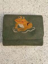 vtg suede animal frog green mid century wallet