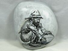 "Painted Rock, ""Vintage Miner Panning for Gold"" #kcpr8"