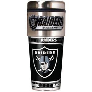 Oakland Raiders Coffee Mug Travel Tumbler Cup NFL Metallic Logo w/ Emblem