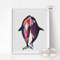 Mandala Whales Zentangle Animals - Embroidery Cross stitch PDF Pattern #131