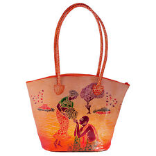 Real Leather Large Tote Batik Indian Shantiniketan Ethnic Shopping Bag Handmade