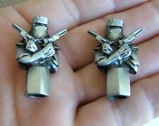 UK ~ NED KELLY OUTLAW VALVE CAPS PAIR *New & Unique* Tire Valve Nuts suit HARLEY