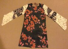 Stevie May Black with Floral Print and Lace Sleeves Ladies Mini Dress XS