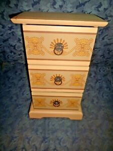 LOVELY HAND PAINTED WOOD DOLL DRESSER/CHEST-3 DRAWERS W/DESIGNS-MINT,PRISTINE