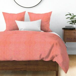 Light Coral Subtle Watercolour Sunset Melon Sateen Duvet Cover by Roostery