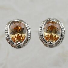 Classy Hot Citrine Orange Oval Gems Jewelry Gold Filled Stud Gift Earrings H1650