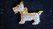 SWAROVSKI Signed Authentic Scottie Dog Tack Lapel Pin, Retired, Rare!  342