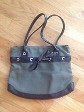 Bcbg Maxazria Bow Purse Green & Brown Faux Leather Linen