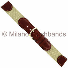 18mm Hirsch Med. Brown Genuine Leather Beige Fabric Swiss Army Style Watch Band