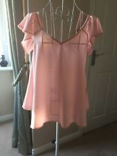 👚 Lovely Cold Shoulder Salmon Pink Blouse Size 10