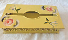 Metal Tissue Kleenex Cover Tole Painted Floral Yellow Distressed Chippy VINTAGE