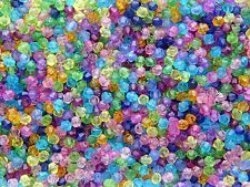 1LOT DE 350 PETITES PERLES TOUPIES ACRYLIQUE MULTICOLORE TRANSLUCIDE 4mm