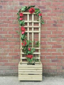 Garden Planter with trellis quality timber UK Made 4ft tall free P&P