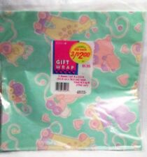 Vintage Baby Shower Wrapping Paper Gift Wrap Pull Toy Animals Pastel NEW Sealed