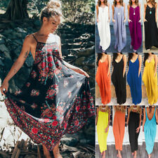 Women Boho Long Maxi Dress Summer Evening Party Beach Holiday Loose Sundress AU