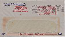 POSTAL HISTORY ADVERTISING METERED COM COVER 1951 J FEGELY HARDWARE POTTSTOWN #2