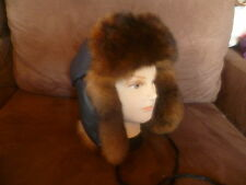 New Zealand Possum Fur Black Leather Trapper Hat