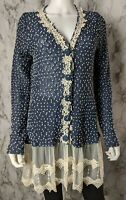 a'reve L Large Polka Dot Lace Tunic Knit Top Blouse Long Sleeves Boho Boutique