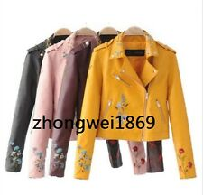 Pu Leather Flower Floral Embroidery Embroidered Bomber Jacket Zip Up Statement