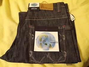 MEN'S EMBROIDERED RAW DENIM RISK JEANS 100% COTTON SIZE 36X34