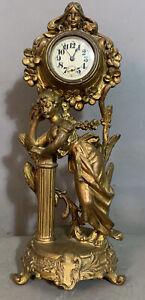 Ca.1900 Antique LADY in GARDEN STATUE Old BRONZE PATINATED Spelter BOUDOIR CLOCK