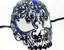 Noir Vénitien filigrane Crâne Masque bal masqué Halloween Bleu pierres