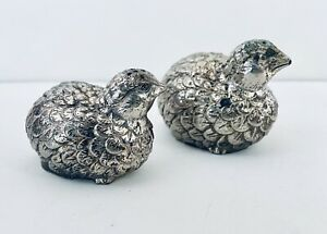 2 Vintage Silver Plated Metal Quail Partridge Bird Salt and Pepper Shakers