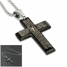 Gift Unisex's Men Stainless Steel Cross Pendant Black Silver Necklace USA
