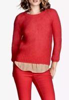 H&M Women's Red Mohair Blend Sweater Gold Zip Back Size Medium NWT
