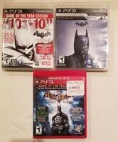 Batman: Arkham Origins, Batman Arkham City, & Arkham Asylum Lot of 3 PS3 Games