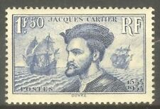 "FRANCE STAMP TIMBRE N° 297 "" JACQUES CARTIER CANADA 1F50 BLEU "" NEUF xx TTB H514"