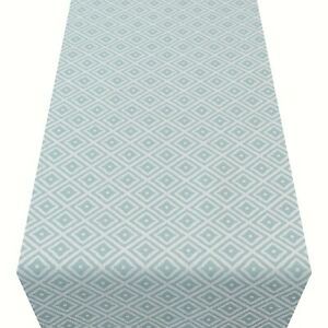 Scandi Style Ikat Geometric Print Table Runner. Duck Egg Mineral Blue. Two sizes