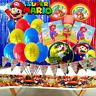 SUPER MARIO BROS LUIGI BALLOON BANNER SUPPLIES DECORATION CUP PLATE TABLE COVER