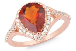 Citrine 925 Silver Rose Gold Plated Ring Handmade Jewelry For Gift SRG01991RR
