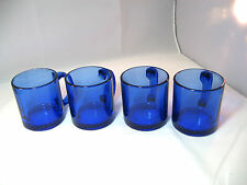 Cobalt Blue Glass Mugs Set of 4 Made in Usa Cups