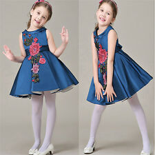 New Baby Girls Dress Sleeveless Floral Tutu Dress Princess Dresses Wedding Party