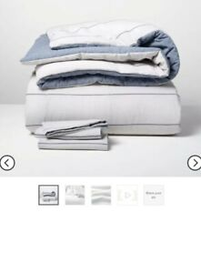 Hearth and Hand Chambray Stripe  Comforter Set King (Faded Blue) MSRP $99