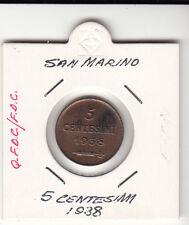 SAN MARINO CENTESIMI 5 RAME q.fdc / fdc 1938  RARA SIGILLATA IN OBLO' BIANCO