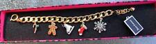 NWT $98 Juicy Couture Gold WINTER WONDERLAND CHARM BRACELET GINGERBREAD MAN SNOW
