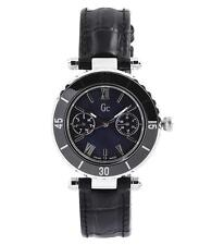 NEW GUESS COLLECTION GC DIVER CHIC LADY WATCH BLACK LEATHER STRAP DATE I24001L2
