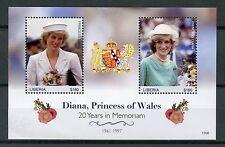 Liberia 2017 MNH Princess Diana 20th Memorial Anniv 2v S/S Royalty Stamps