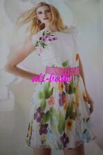 Alice + Olivia Floral print Mod white pink belt dress Large flower 10-12 $367