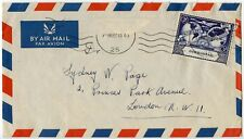 GIBRALTAR 1949 UPU SINGLE FRANKING 3d AIRMAIL to GB