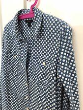 Women's J.CREW White Flower Denim Blue Button Front Shirt Top Blouse Size 8