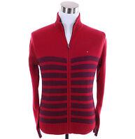 Tommy Hilfiger Men Full Zip Mock Turtle Neck Stripe Sweater Jacket -Free $0 Ship