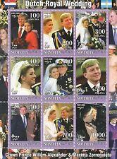 DUTCH ROYAL WEDDING PRINCE WILLEM-ALEXANDER MAXIMA ZORREGUIETA MNH STAMP SHEET