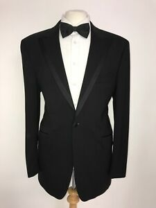 WILLIAM HUNT - Mens BLACK WOOL DINNER SUIT - 44 Reg - W38 L32 -WORN TWICE TUXEDO